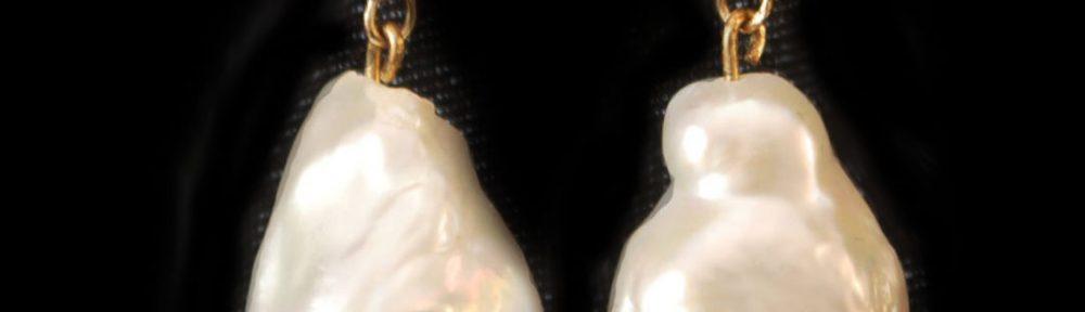 Baroque Pearl Drop Gold Earrings by Nancy Tranter nancystoreonline.com