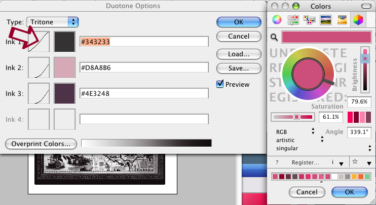 dialog box for adjusting curves found in image duotone options mode