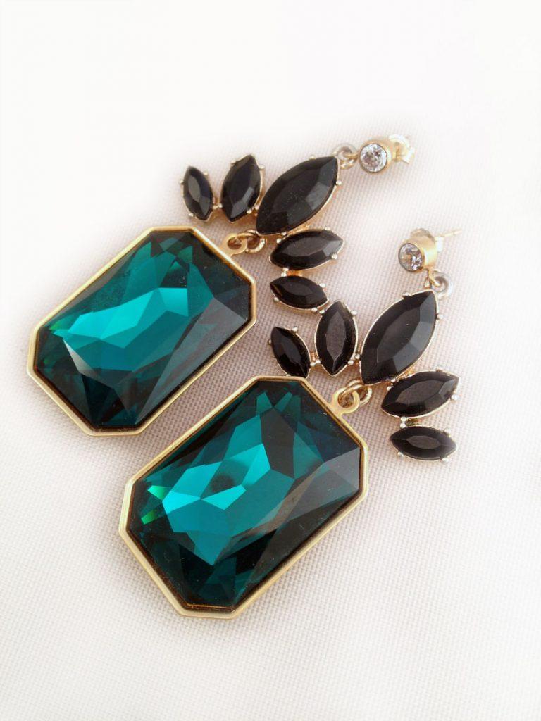 Emerald Cut Swarovski Crystal and Goldtone Earrings $42.00