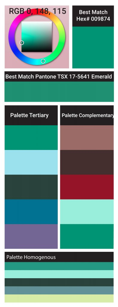 Emerald 17-5641 the Color of the Year 2013 Hue Map and Color Details