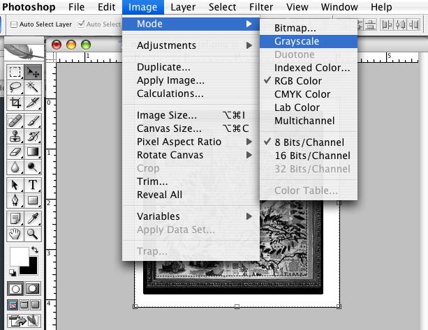 image dialog box grayscale mode
