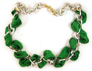 Hand Dyed Emerald Ribbon and Silver Chain necklace $35.00