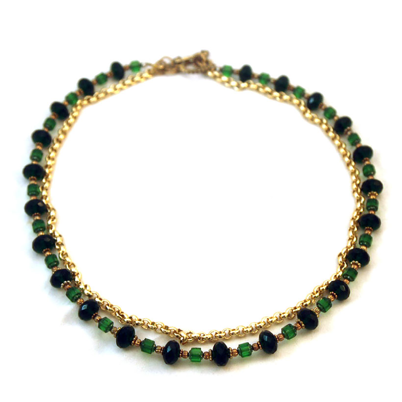 Emerald Necklace, Gold Plated Rolo Chain, Czech Glass Cathedral beads, Vermiel Beads $45.00