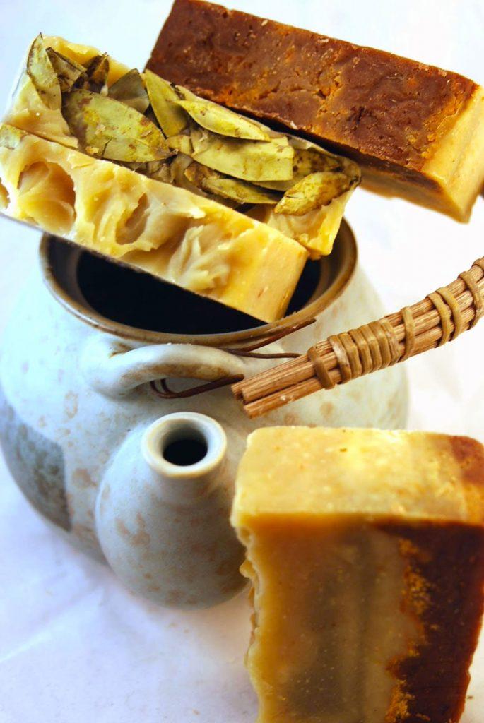 sandalwood soap and tea pot
