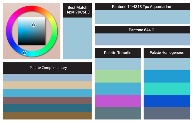 Aquamarine Color of the Year schemes, paints, palettes, combinations, gradients and color space conversions