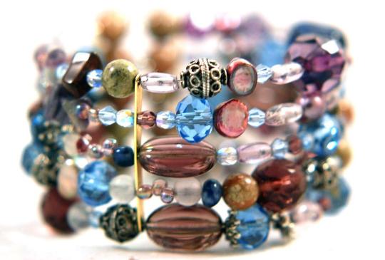 Bracelet Radiant Orchid Mix Gemstones Memory Wire Wrap $45.00 nancystoronline.com