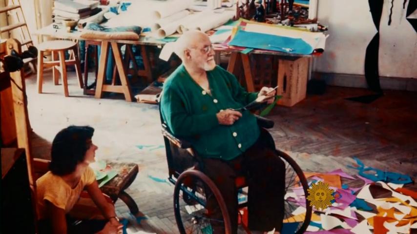 Henri Matisse in studio working with cutouts